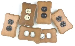 Vintage Brown Decorative Electrical Wood Indoor Wall Outlet Plates Home Decor