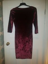 Red Velvet Bodycon Cocktail Dress With Sleeves And Low Back Size 12