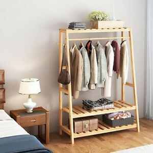Wood Clothes Rail Rack Garment Dress Hanging Display Stand Shoe Rack Storage