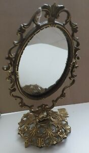AntiqueVictorian style Brass Frame Standable VANITY Table Top Makeup Mirror