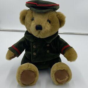 """NWT Vintage HARRODS Teddy Bear Velvet Green Suit Logo 11"""" NEW"""