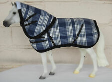 Handmade turnout rug hood blanket fit 1:9 traditional breyer horse blue check