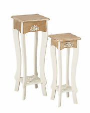 Juliette Shabby Chic Plant Lamp Table Stands - Set of 2 - White and Wood Effect