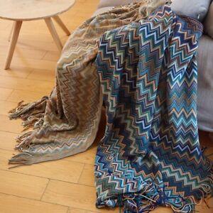 Boho Bohemian Blanket Ethnic Knitted Sofa Throw Couch Towel Tassel Fringe New
