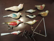 Vintage Lot of Christmas Bird Ornaments Antique German Glass Feather tree clipon
