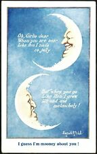 POSTCARD, FANTASY, COMIC, DONALD McGILL, MAN IN THE MOON, MOONFACE.
