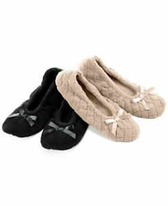 Isotoner Womens Size S/M 5-6 2 Pack Microterry Ballerina Slippers Black Sand $40