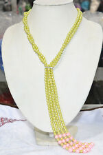 """Elegant Charming olive green pink shell pearl jewelry necklace 50"""""""
