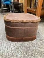 """Vintage Retro Brown Velvet Footstool Pouffe 18x18"""" 46x46cm"""