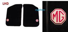 MGTF MGF MG TF pair BLACK leather trim LHD car mats MG badge logo