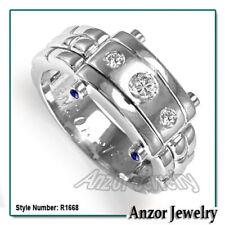 Men's Platinum Diamond and sapphire Ring #R1669