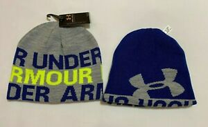 NEW with Tags under Armour Reversible  youth Boys  Beanie-Gray / Blue