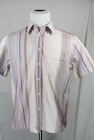 H&M Men's Maroon Brown White Striped Button Down Short Sleeve Shirt Sz. LARGE