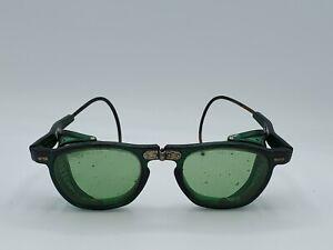 Vintage Wilson Industrial Steampunk Green Lens Folding Welding Safety Glasses