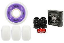 Bones Wheels 100's White 55mm Conical V5 + FREE Spitfire Skateboard Bearings