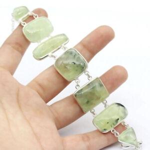 "Moss Prehnite 925 Silver Plated Handmade Gemstone Bracelet of 8.5"" Ethnic Gift"
