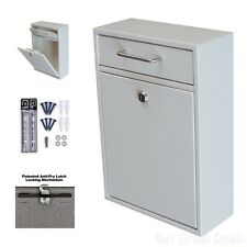 Wall Mounted Locking Mailbox Mail Drop Box Home Improvement Indoor Outdoor White