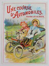 """Léon SAUSSINE (?) """"Une Course d'Automobile"""" Couvercle et plateau jeu Chromo 1900"""