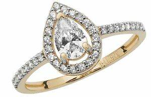 Halo Engagement Ring Yellow Gold Ladies 9 Carat Gold Pear Dress Ring Size M-R