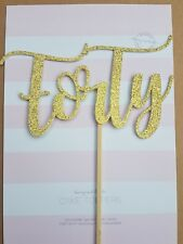 """'Forty"""" Gold Glitter Card Cake Topper, 40th 40 birthday, fortieth"""