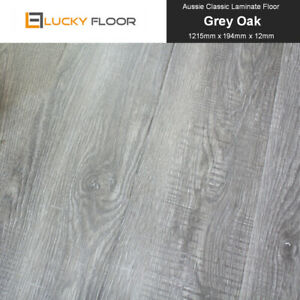Laminate Flooring 12mm Grey Oak Floating Timber Floorboard Floor Click Lock DIY