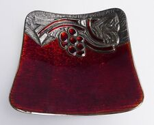STUDIO DEL CAMPO ITALY RED ENAMELED DISH WITH A RAISED SILVER DESIGN