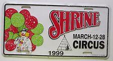 1999 SHRINE CIRCUS CLOWN & BALLOON BOOSTER License Plate