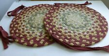 """Pa Dutch Country 2 Braided Chair Mats w/ Ties, 15"""" Round Rag Rug Style, 3 Color"""