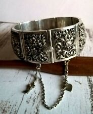 Vintage Fine Chinese Sterling Silver Articulated Bracelet with Charms