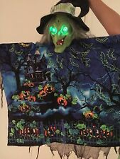 Gemmy Shaking Spirit Talking Witch w/ Green LED Eyes Scenic Halloween NIght Top