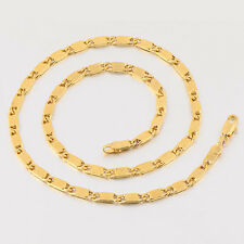 """Vintage 17.7"""" Yellow Gold Filled Women's Collar Necklace Chain 4mm Wide"""