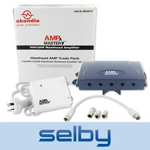 Amp Master Masthead Amplifier TV Antenna Booster with Power Supply