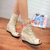 Plus Size Womens Casual Lace Up Wedge Hidden Heel Hollow Out Sandals Shoes New