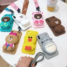 3D Cute Animal Wallet Lanyard Soft Phone Case Cover For iPhone11Pro 7 8Plus XR X