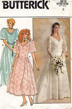 1980's VTG Butterick Misses' Petite Wedding Dress Pattern 3615  8   UNCUT