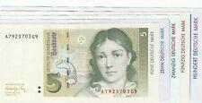 5 / 10 / 20 / 50 / 100 DM-Scheine 1989-93 wenig gebraucht