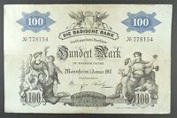 1907 Germany - Badische Bank Mannheim 100 Mark Banknote, P-S906.