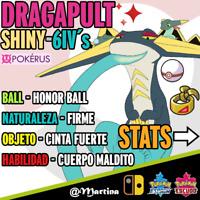 Dragapult Competitivo Súper Shiny/Variocolor 6IV´s Pokemon Espada-Escudo Pokérus