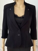White House Black Market WHBM Jacket Blazer Sz 6 Stretch Steampunk Military EUC