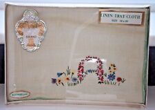 A Vintage Boxed & Unused Irish Linen Embroidered Tray Cloth