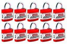 Lock Lockout Safety padlock keyed set of 10 multipurpose RED
