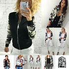 Stylish Womens Classic Padded Bomber Jacket Vintage Zip Up Biker Coat Outwear