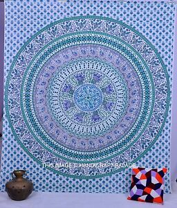 Indian Mandala Tapestry Wall Hanging Cotton Bedding Bed Cover Queen Home Decor