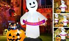Halloween Inflatables Ghost Pumpkin with Black Cat, 6FT Ghost with Treats