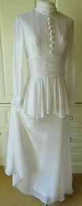 VINTAGE JOHN CHARLES WHITE BOHO/EDWARDIAN WEDDING/OCCASION DRESS 14 FIT UK 8/10