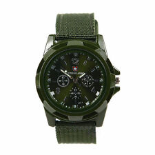 CAMOUFLAGE Men fabric Sport Quartz Military ARMY Watch Swiss flag Gemius GREEN {