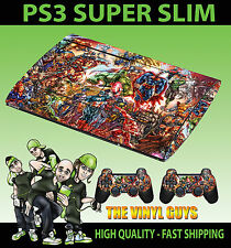 PLAYSTATION PS3 SUPERSLIM MARVEL DC ACTION SUPERHERO SKIN STICKER & 2 PAD SKIN