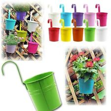 10 Colorful Small Metal Flower Pot Hanging Garden Plant Wall Planter Home Decor