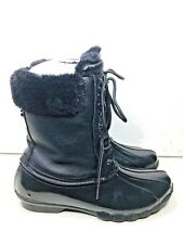 Steve Madden Women's Black Leather Faux Fur Duck Lace Boots Winter Size 9