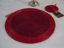 Set of 4 Round Glass Beaded Red Placemats Table Place Mats & Coasters Christmas